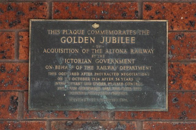 Plaque marking the Golden Jubilee of acquisition of the Altona Railway by the Victorian Government in 1925