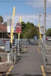 Independent pedestrian boom barriers at the Maidstone Street crossing
