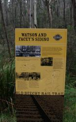 Signboard at Watson and Facey's Siding