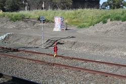 Corio Independent Goods Line: STOP board on the up end mainline connection to the broad gauge through siding