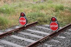 STOP board on the broad gauge CIGL to North Geelong Yard link