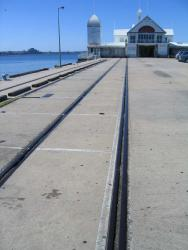 Rail tracks on the pier itself