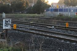 STOP boards on the tracks at the Laverton end
