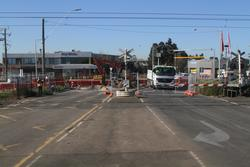 Aircraft Road level crossing removal project: Level crossing blocked to vehicles, but still active