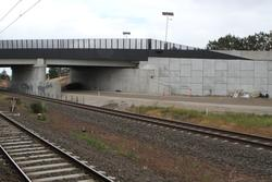 Aircraft Road level crossing removal project: Up end of the new bridge, now in use