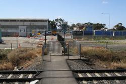 Aircraft Road level crossing removal project: Pedestrian crossing still in place midway between Aircraft and Laverton stations
