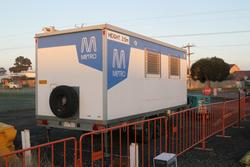 Metro Trains branded mobile site hut at Laverton