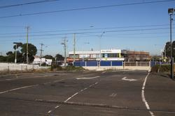 Aviation Road level crossing removal project: Former level crossing still in place at Aviation Road