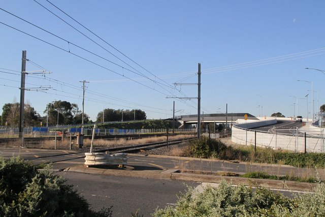 Looking east from Aircraft station and the former level crossing towards the new Aviation Road bridge