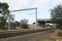 Cherry Street level crossing removal project: Gantry for terminating overhead wires at the up end of the bridge