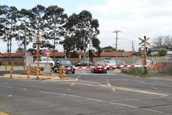 Cherry Street level crossing removal project: Boom gates closed at Cherry Street