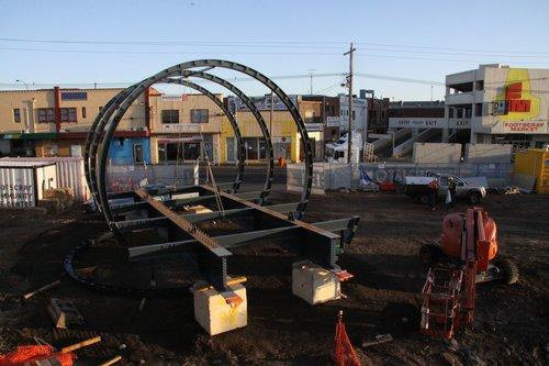 First part of the new footbridge waiting to be lifted into place