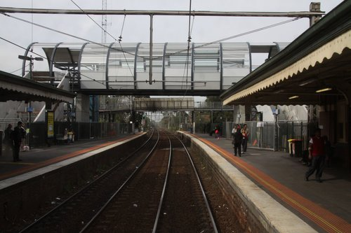 New and old footbridges over the Newport bound tracks