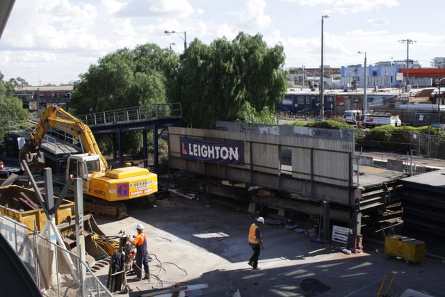 Last chunk of footbridge being broken up next to platform 2