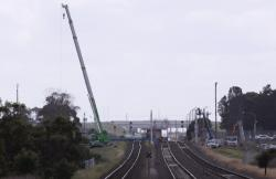 Cranes in place at Corio, from the down end
