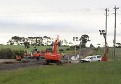 Work on the Ghazeepore Road level crossing