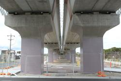 Underneath the southern end of the completed bridge