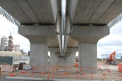 Underneath the northern end of the completed bridge