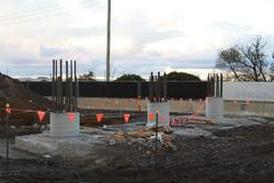 Piers for the new railway bridge - it appears the approaches will not be earth filled embankments