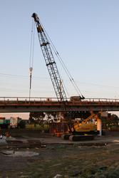 Crane is place for lifting the concrete beams into place