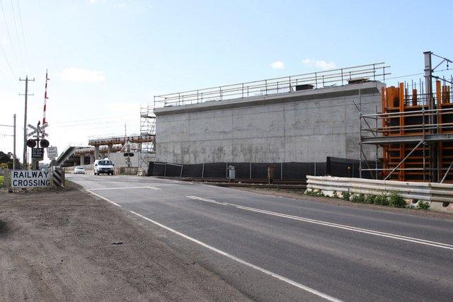 Looking east towards the railway crossing