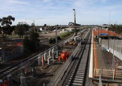 Piles being poured for the new platform