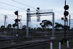 New signal gantry at the up end of the platforms