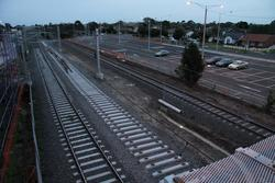 Concrete sleepers placed on the new platform track, but no rails