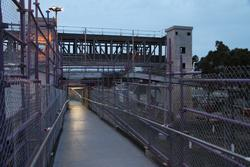New bridge viewed from the temporary platform ramp