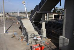 Steps up to the bridge, the new platform behind