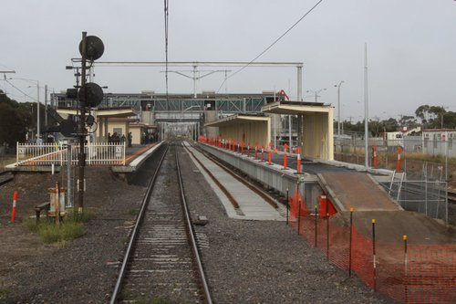 Temporary ramp at the up end of the platform for construction access