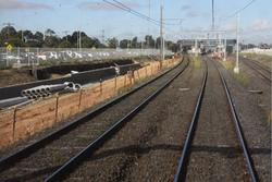 Cutting and retaining wall for the additional track to Altona