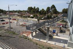 Laverton Rail Upgrade project: Stairs at the southern end of the new bridge
