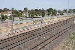 Laverton Rail Upgrade project: New track ballasted underneath the freeway overpass