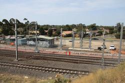 Laverton Rail Upgrade project: New track ballasted alongside the substation