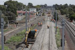 Laverton Rail Upgrade project: Work on the track slew at the down end