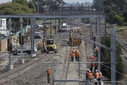Laverton Rail Upgrade project: The west line (normally up) is being connected to the new platform 1