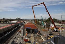 Laverton Rail Upgrade project: Pouring concrete for the new surface of platform 2/3