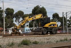 Laverton Rail Upgrade project: Hi-rail excavator between tasks
