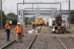 Laverton Rail Upgrade project: Track workers at the down end