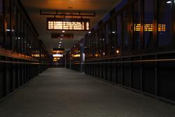 Laverton Rail Upgrade project: Overhead footbridge by night