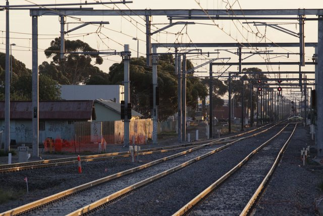 East line now slewed to the new alignment, down end points in place for the future Altona track