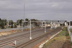 Laverton Rail Upgrade project: Main lines all straight at the up end, but a bit of a hump in the new 3rd track to Altona