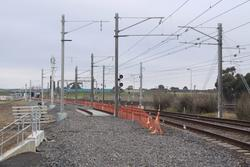 Down end of Laverton Loop, looking down. The new stanchions are for the additional track into Laverton