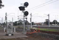 New signal yet to be commissioned at the down end of platform 3