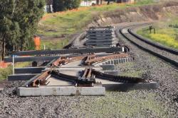 Dual gauge points awaiting installation at the down end of Anakie Road