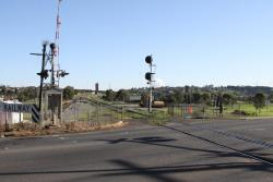 Anakie Road level crossing looking down the line