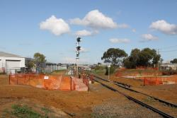 Looking up the line at North Geelong C, new pedestrian underpass being excavated