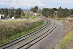 Double track laid beneath the Geelong Ring Road overpass at Bell Post Hill