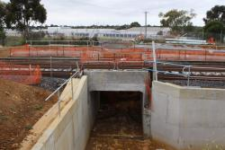 Work on the Furner Avenue underpass: concrete culvert in place beneath the new track, but not the old one